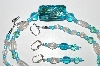 "MBA #B4-3006  ""Blue AB Crystal,Clear Luster Glass Bead Necklace & Matching Earring Set"""