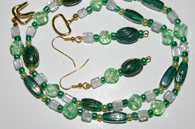 "MBA #B4-3000  ""Green Glass Bead & Glass Pearl Necklace & Matching Earring Set"""