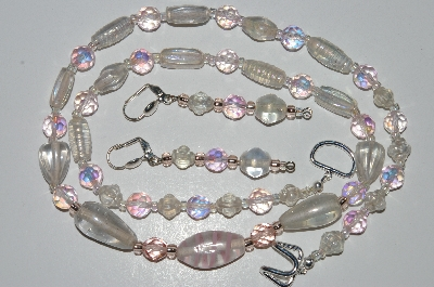 "MBA #B4-2994   ""Pink AB Crystal & Clear Luster Glass Bead Necklace & Matching Earring Set"""