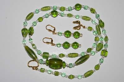"MBA #B4-2997  ""Green Luster Glass Bead & Crystal Necklace & Matching Earring Set"""