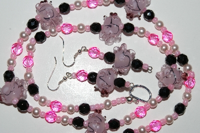 "MBA #B4-2991  ""Fancy Pink Glass Fish, Crystal & Glass Pearl Necklace & Matching Earring Set"""