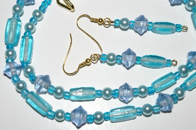 "MBA #B4-2988  ""Blue Luster Glass & Pearl Necklace & Matching Earring Set"""