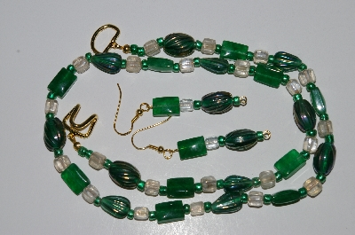 "MBA #B4-2929  ""Green Gemstone, Green Luster Glass & Clear Glass Bead Necklace & Matching Earring Set"""