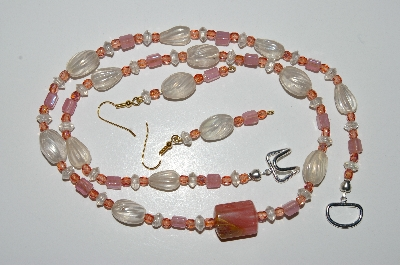 "MBA #B4-2953  ""Clear Luster Glass,Pink Bead & Crystal, Cherry Agate Necklace & Matching Earring Set"""