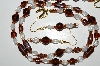 "MBA #B4-2947  ""Brown & Clear Glass Bead Necklace & Matching Earring Set"""