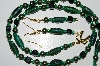 "MBA #B4-2974  ""Green Luster Glass, Black Glass & Pearl Necklace & Matching Earring Set"""