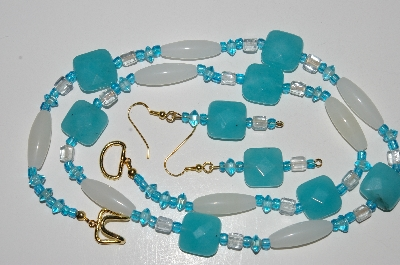"MBA #B4-2971  ""Blue Gemstone,Clear & Milk Glass Bead Necklace & Matching Earring Set"""
