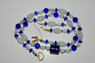 "MBA #B4-2968  ""Dark Blue & Luster White Glass Bead Necklace & Matching Earring Set"""