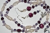 "MBA #B4-2965  ""Amethyst, Luster Glass, Purple Glass Bead Necklace & Matching Earring Set"""