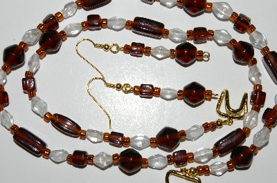 "MBA #B4-2950  ""Brown & Clear Glass Necklace & Matching Earring Set"""
