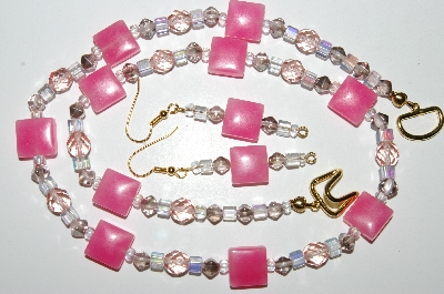 "MBA #B4-2956  ""Fancy Pink Glass & Crystal Bead Necklace & Matching Earring Set"""