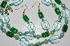 "MBA #B4-2938  ""Aqua Green Glass, Green Gemstone & Glass Pearl Necklace & Earring Set"""