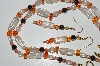 "MBA #B4-2935  ""Clear Luster Glass, Orange Glass Chips, Crystal & Hemalyke Bead Necklace & Matching Earring Set"""