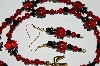 "MBA #B4-2941  ""Red Jade, Crystal, Black Glass Bead Lady Bug Necklace & Matching Earring Set"""