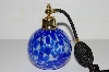 "**MBA #B4-3033  ""Blue Art Glass Atomizer Perfume Bottle"""