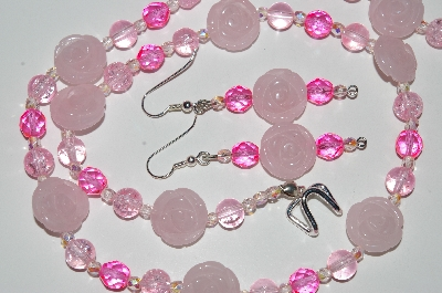 "MBA #B5-054  ""Carved Rose Quarts, Pink Glass & Crystal Bead Necklace & Earring Set"""