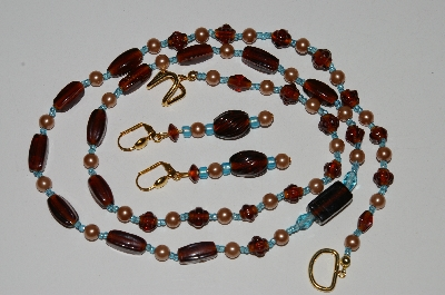 "MBA #B5-075  ""Vintage Tan Glass Pearls & Brown Glass Bead Necklace & Matching Earring Set"""