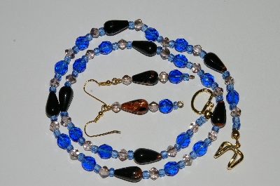 "MBA #b5-051  ""Fancy Black & Gold Glass Bead & Blue Crystal Necklace & Matching Earring Set"""