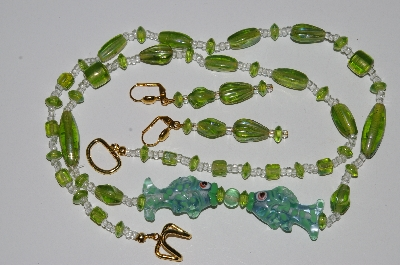 "MBA #B5-084  ""Fancy 2 Lamp Worked Glass Fish & Luster Green Glass Bead Necklace & Matching Earring Set"""