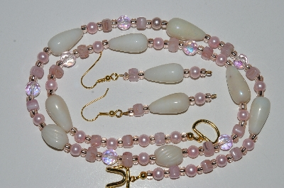 "MBA #B5-087  ""Luster White Glass, Pink Glass Bead, Pink Crystal & Pink Pearl Necklace & Matching Earring Set"""