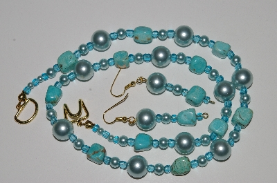 "MBA #B5-102  ""Turquoise & Glass Pearl Necklace & Matching Earring Set"""