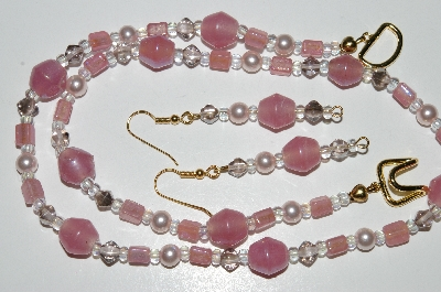 "MBA #B5-096  ""Luster Pink Glass Bead & Pearl Necklace & Matching Earring Set"""