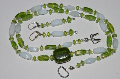 "MBA #B5-081  ""Lime Green Luster Glass & White Bead Necklace & Matching Earring Set"""