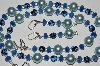 "MBA #B5-063  ""Blue Gemstone, Glass Pearl & Bead Necklace & Matching Earring Set"""