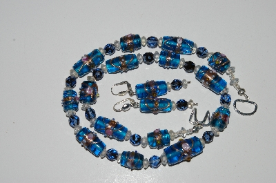 "MBA #B5-042  "" Fancy Blue Glass Lamp Worked Bead Necklace & Matching Earring Set"""
