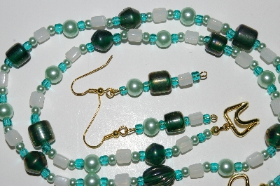 "MBA #B5-012  ""Luster Green Glass & White Translucent Glass Bead Necklace & Matching Earring Set"""