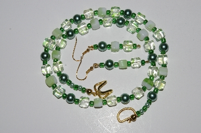 "MBA #B5-09  ""Fancy Green Glass Bead & Pearl Necklace & Matching Earring Set"""