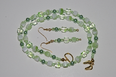 "MBA #B5-030  ""Green Glass bead, Crystal & Pearl Necklace & Matching Earring Set"""