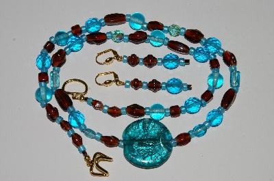 "MBA #B5-027  ""Blue, Brwon Glass Bead & Crystal Necklace & Matching Earring Set"""