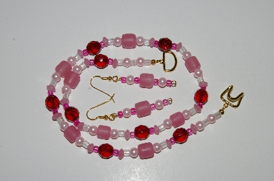"MBA #B5-021  ""Pink Glass, Pink Pearl & Red Crystal Necklace & Matching Earring Set"""