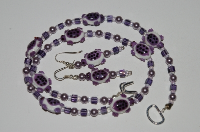 "MBA #B5-015  ""Fancy Purple & White Turtle Glass Bead Necklace & Matching Earring Set"""