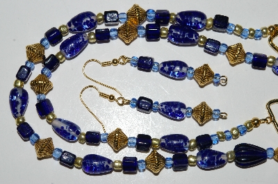 "MBA #B5-093  ""Fancy Blue Glass Bead Necklace & Matching Earring Set"""
