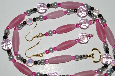 "MBA #B5-048  ""Matte Pink Glass, Black Glass, Grey Pearl & Crystal Necklace & Matching Earring Set"""