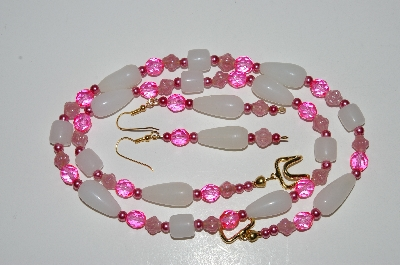 "MBA #B5-039  ""Translucent White Glass, Bright Pink Crystal & Pearl Necklace & Matching Earring Set"""
