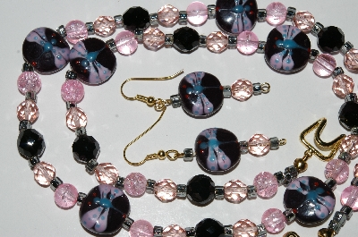 "MBA #B5-045  ""Fancy Glass Dragonfly Bead Necklace & Matching Earring Set"""