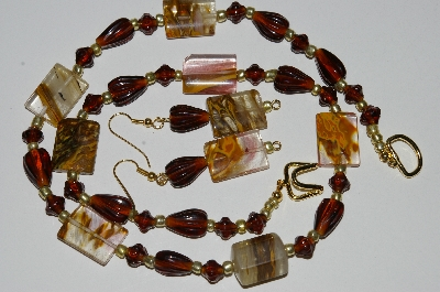 "MBA #B5-108  ""Cherry Agate & Brown Glass Bead Necklace & Matching Earring Set"""