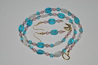 "MBA #B5-105  ""Blue, Clear Glass & Pearl Necklace & Matching Earring Set"""