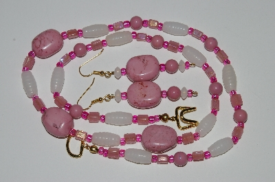 "MBA #B5-033  ""Pink Lepidolite & Glass bead Necklace & Matching Earring Set"""