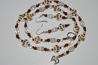 "MBA #B5-036  ""Fancy Lamp Worked Glass Dog Paw Necklace & Matching Earring Set"""