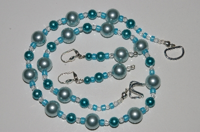 "MBA #B5-111  ""Blue Glass Pearl & Clear Crystal bead Necklace & Matching Earring Set"""
