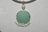 "**MBA #B6-204  ""Sterling Carved Aventurine & Freswater Cultured Pearl Pendat"""