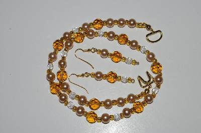 "MBA #B6-189  ""Amber Crystal Bead & Champagne Glass Pearl Necklace & Earring Set"""