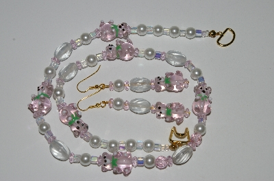 "MBA #B6-186  ""Lavender Glass Bears & White Pearl Necklace & Matching Earring Set"""