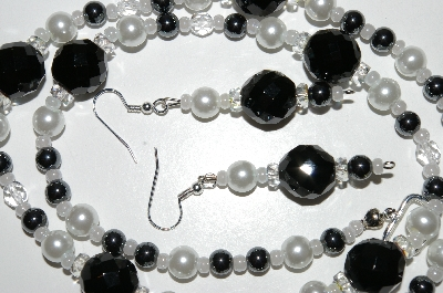 "MBA #B6-183  ""Black Crystal, Hemalyke & White Glass Pearl Necklace & Earring Set"""