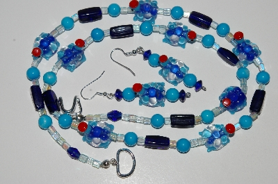 "MBA #B6-155  ""Fancy Blue Glass Turtle Bead Necklace & Earring Set"""