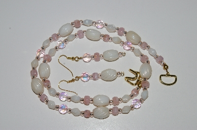 "MBA #B6-136  ""Pink Crystal & Luster White Bead Necklace & Matching Earring Set"""